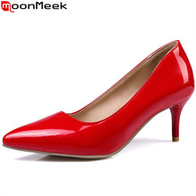 MoonMeek new women pumps fashion shallow pointed toe spring summer single shoes black white red high heels wedding shoes size 48