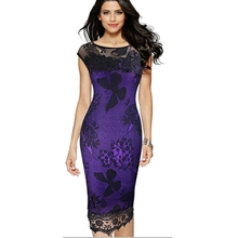 Womens Elegant Lace Embroidery Equipment Out Pinup Party Evening Special Occasion Sheath Fitted Vestidos Dress(China)