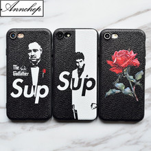 New Brand SUP Scarface the Godfather Red Rose soft leather silicon Case For iphone 6 6s 7 Plus 8 Plus X 5s SE Cover funda coque(China)