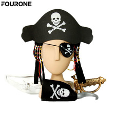 1Set Halloween Kids Captain Pirate Set With Hat & Hair Hook Sword Eye Patch Earring(China)