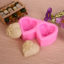 2 Holes 3D Heart I love you Rose flower Silicone Mold DIY Fondant Cake Decor Mold 8.8x4.6x2.6cm Muffin Soap Chocolate Mold E268