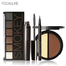 Focallure 4pc/set Makeup Set with 6colors/palette Eyeshadow Mascara Eyeliner Face Power in one set