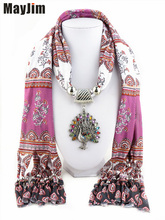 New Charms winter printing Scarf Necklaces tassel bead Vintage Peacock Pendants scarf Necklaces Women Scarf Necklaces Jewelry