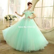 Sweet Women Adult O-neck Green Appliques Long Dress Stage Singer Performance Carnival Ball Gown Costumes