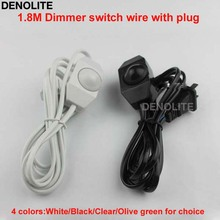 Lamp Wire 1.8M Black/White/Clear/Olive Green Power Cord With Dimmer Switch US 2-Pin Flat Plug Cable For Lights Free Shipping