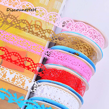 1pcs color random  DIY Candy Colors Hot Lace Tape Decoration Roll Decorative Sticky Paper Masking Tape Self Adhesive Tape