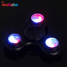 IWObabe LED Flash Light Hand Finger Spinner Fidget Long Time Powerful Aluminum Fidget Spinner For Autism and ADHD Relief Toys(China)