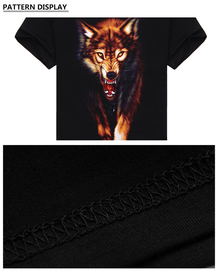 Novelty 3D Men's wolf T shirt Cool wolf Printed t shirts summer Casual 3D Short Sleeve glow in the dark T-shirts good quality
