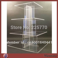 Acrylic square 4 tiers assembled cupcake stand perspex square cupcake stand