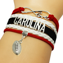 Infinity Love Carolina Baseball Team Bracelets Leather Suede Rope Charm Customize Friendship Wristband Women Bangle