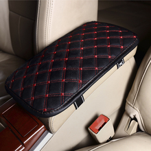 Leather Car Armrest Pad Covers Universal Center Console Auto Seat Armrests Box Pads Black Armrest Storage Protection Cushion(China)
