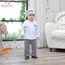 Baby boys sets cotton white shirt+plaid pants+hat 3pcs set chef playsuit autumn long sleeves toddler kids clothes outfit costume