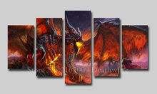 2017 Rushed Deathwing HD Photos NO Frame Artwork Modern Home Wall Deco Canvas Painting Game Posters 5Panels for livingroom