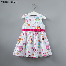 VORO BEVE Summer Baby Girl Dress Owl Pattern Sleeveless Dress Fashion Children Clothes