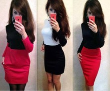Awedrui New Arrival Autumn Winter bandage Dress Fashion Red Black White Patchwork Long Sleeve Casual Slim Sheath Dresses