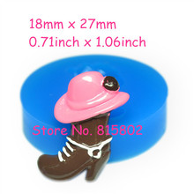 Free Shipping FYL226U Cowboy Hat & Cowboy Boot Silicone Flexible Mold 27mm - Air Dry Polymer Sugarcraft Cake Decorating Mould
