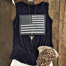 Women American Flag Tank Sleeveless O Neck Tops Navy blue/Red/Burgundy Tumblr Harajuku Plus Size S-3XL Casual Female Vest Camis