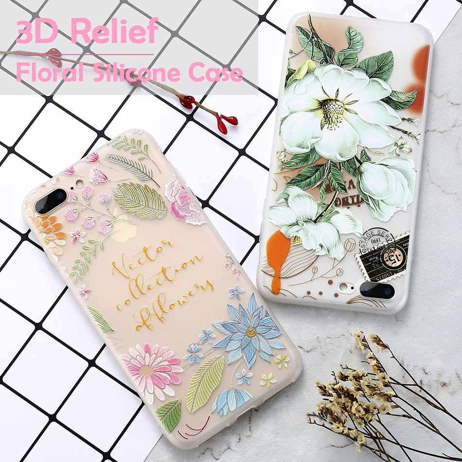 flower patterned case for iPhone 6 6s 7 Plus (1)