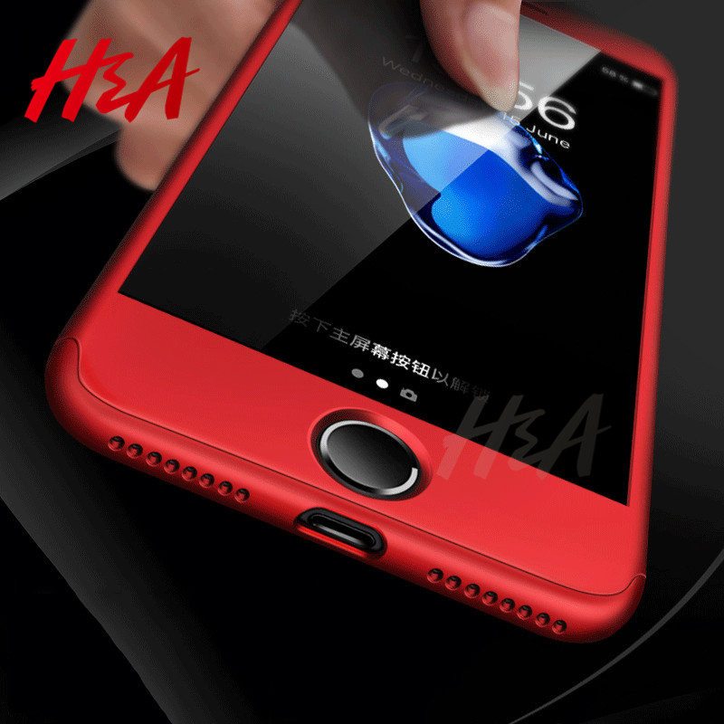 H&A 360 Degree Full Cover Cases iPhone 6 6s 7 8 Plus Case Cover iPhone 8 7 7Plus 6s Plus Phone Case Tempered Glass