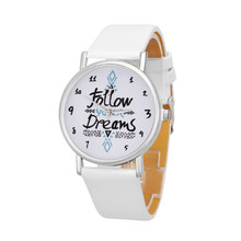 New hot quartz watch women men Follow Dreams letter Pattern PU Leather wrist Watch super quality relogios femininos joyeria #0o1