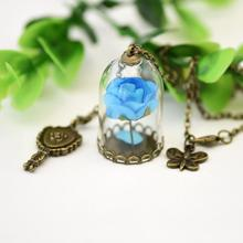 Action Figures Beauty and The Beast Enchanted Inspired Rose in a Glass Bottle copper Plated Necklace Dome bronze mirror charm