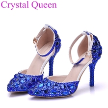 Red rhinestone crystal bridal shoes high heels thin heels pumps shoes pointed toe formal dress performance shoes red sole pumps(China)