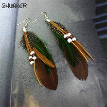 SHUANGR Hot sale Fashion Bohemia Charms Womens Vintage Dangle Earrings Exaggeration Feather Beads Big Drop Earring Jewelry 2017(China)