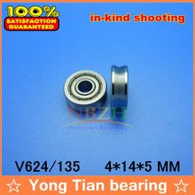 10 pcs V grooved straightener guide wheel bearings V624/135 V135 4*14*5 mm ABEC-5 Precision pulley V624ZZ 624VV(China)