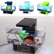 Mini USB Fish Tank Aquarium LED Light Sound Recycled Water Small Electronic Ecological Aquarium Fish Tank Calendar Clock White22(China)