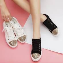 gold glitter decoration canvas shoes woman lace up black white flats ladies  creepers shoes espadrilles women platform flats s295 5e08ee4a6c4b