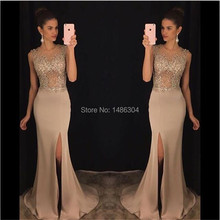 Champagne Sleeveless Scoop Neck Long Evening Dresses 2017 Sexy Side Slit Mermaid Beading Floor Length Evening Dress YN32203