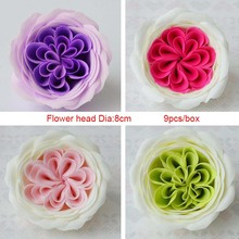 9PCS 8CM Colorful Austin Soap Rose Flower Artificial Flower Head DIY Gift For Valentine's Day Wedding Decoration Oraments