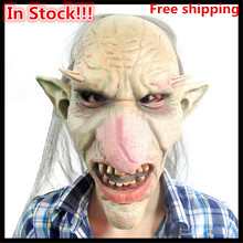 Top Selling Halloween Cosplay Scary Mask Latex Creepy Horse Big Nose Pointy Ears with little Hair Costume Party Goblin Masks