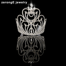 "zerongE jewelry 5.4"" custom Sparkling Beauty Contest High Quality Pageant Tall Tiara large pageant Crystal Crown"