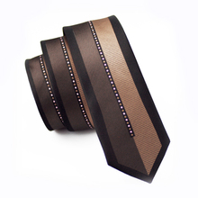 2017 Fashion Slim Tie Black Patchwork Brown Skinny Narrow Gravata Silk Jacquard Woven Ties For Men Wedding Party Groom HH-121(China)