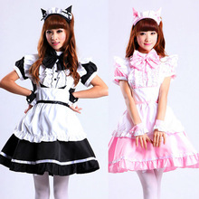 Lolita Cat Ear Maid Apron Dress Meidofuku Uniform Outfits Cosplay Costumes M-XL