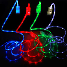 Universal 1M long LED light luminous micro USB data sync power charging charger cable cord line wire for Android Xiaomi samsung