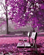 Frameless Purple Romantic Pictures By Numbers DIY Hand Painted Park tree chair Wall Oil Painting By Number Artwork Home Decor