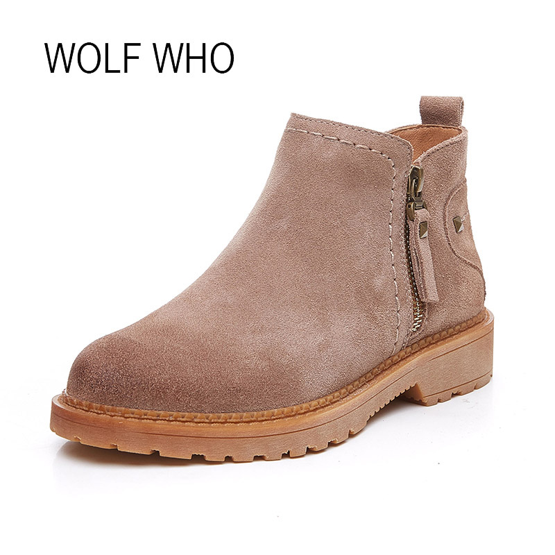WOLF WHO 2018 Spring Genuine Leather Women Boots Zipper Fashion Female Ankle Boots Retro Ladies Booties Chelsea H-193<br>