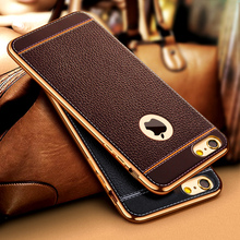 Luxury Ultra Slim 3D Leather Pattern Retro Phone Case For iPhone 7 5 5S SE 6 6S Plus Plating Soft TPU Silicone Back Cover Capa