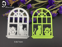 METAL CUTTING DIES window sill cat flowerpot family  Scrapbook card album paper craft home decoration embossing stencil cutter