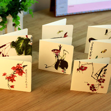 12 pcs/set Creative China Painting style card Birthday/holiday greeting message card Christmas New Year Gift cards