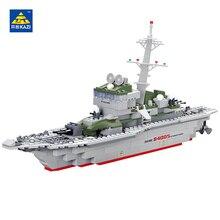 KAZI 228Pcs Military Ship Model Building Blocks Imitation Gun Weapon Equipment Technic Designer Educational Toys Boys