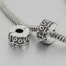free shipping 1pc silver love clip heart stopper bead charm Fits European Pandora Charm Bracelets A163(1)