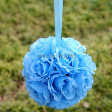 Free shipping, 20cm/8'' Light blue Silk Rose Kissing Ball Flower Pomander Bouquet Flower Ball Wedding Party Decorations HQ13