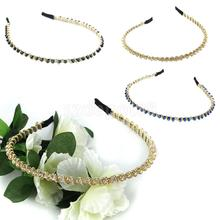 Beads Chain Twined Headband Alice Band with Crystal Rhinestone(China)