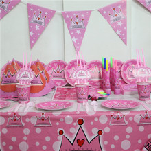 92pcs/lot  Crown Princess Cartoon Party Set Disposable Paper Flag/Tablecloth For 6 Girl Kids Birthday Party Decoration Supplies
