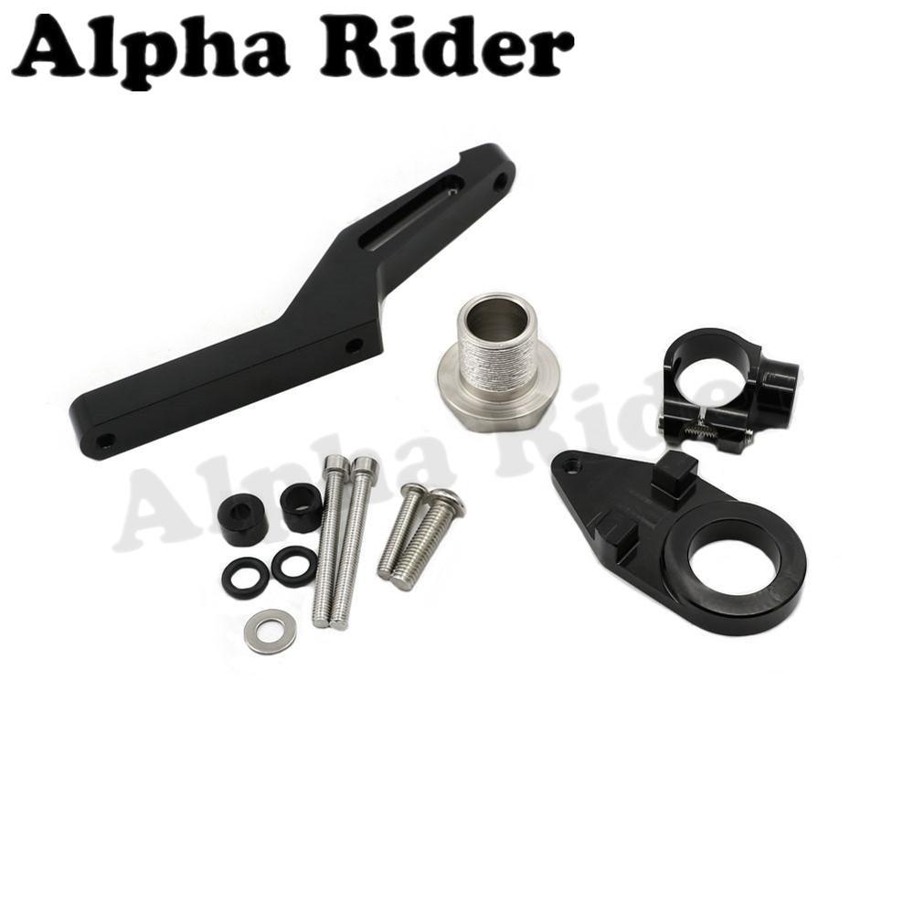 Black CNC Direction Steering Damper Stabilizer Holder Bracket w/ Mounting for Kawasaki Ninja ZX6R ZX636 2013-2016 2015 2014<br>