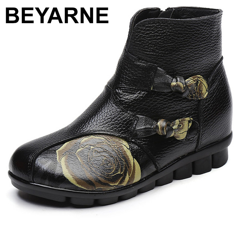 BEYARNE   Women Flat Bottomed Floral Genuine Leather Boots Warm Cotton Shoes Folk Style Female Retro Mother Cowhide Shoes Boots<br>