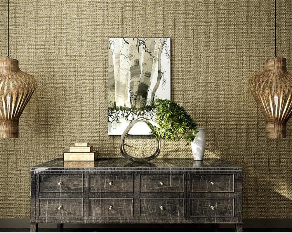 Beibehang High quality green 3D wallpaper linen texture wallpaper 3d bedroom living room interior pure plain wallpaper roll<br>